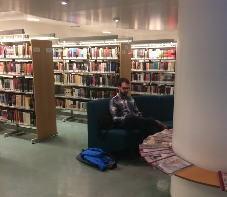 That lovely new husband in the library in Reykjavik, Iceland